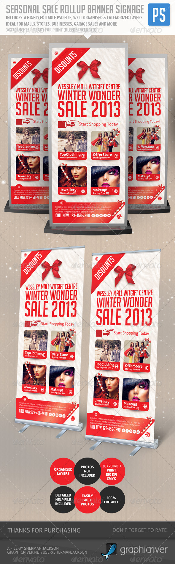 Seasonal Sale Rollup Banner Signage - Signage Print Templates