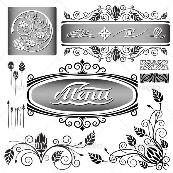 Floral Design Elements Set - Decorative Vectors