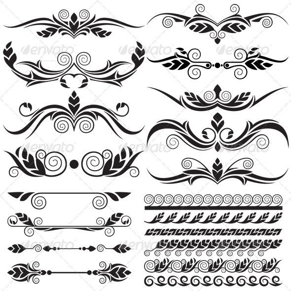 Floral Design Elements Set - Flourishes / Swirls Decorative