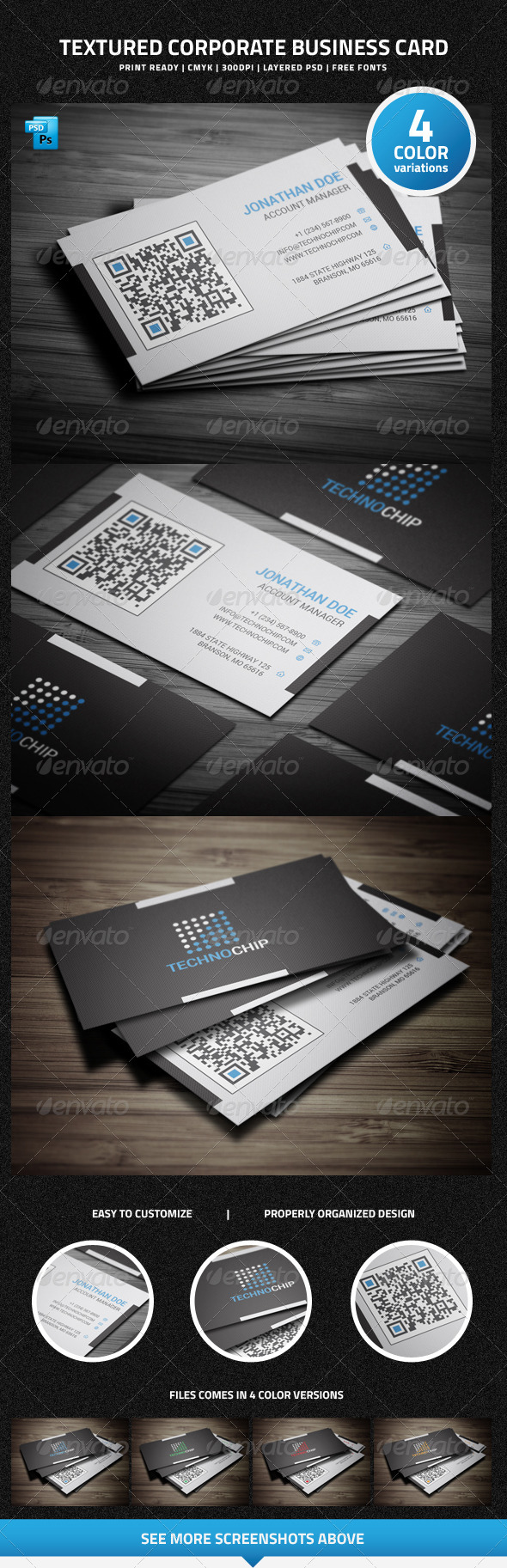 Textured Corporate Business Card - 19 - Corporate Business Cards