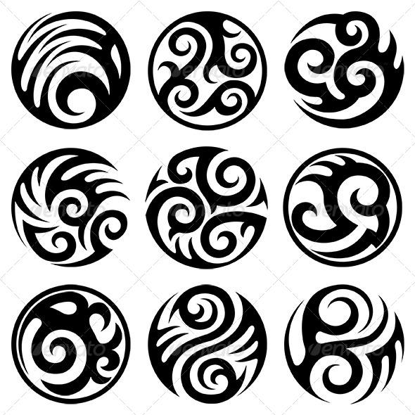 Round Tattoos Set - Tattoos Vectors