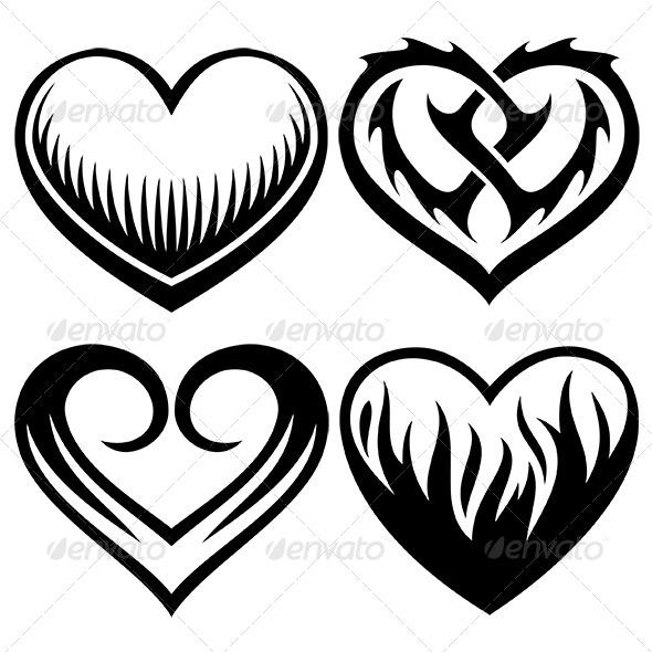 Heart Tattoos Set - Tattoos Vectors
