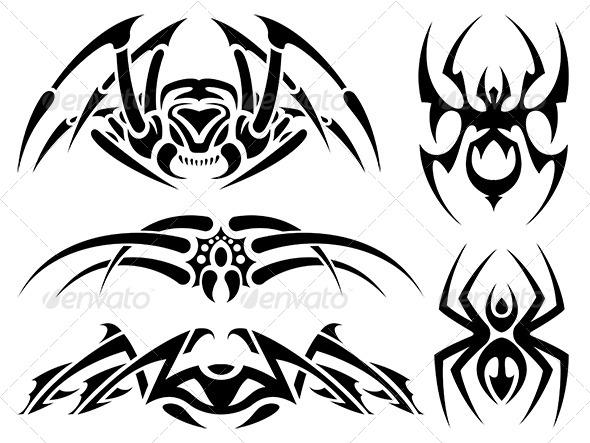 Spider Tattoos - Tattoos Vectors