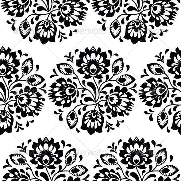 Seamless Traditional Floral Polish Pattern  - Flourishes / Swirls Decorative