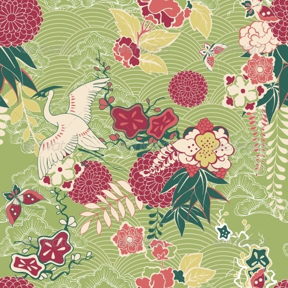 Oriental Silk Pattern - Flowers & Plants Nature