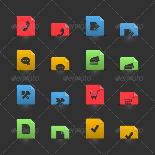 Online Shopping Icons Set on Moving Stubs - Web Elements Vectors