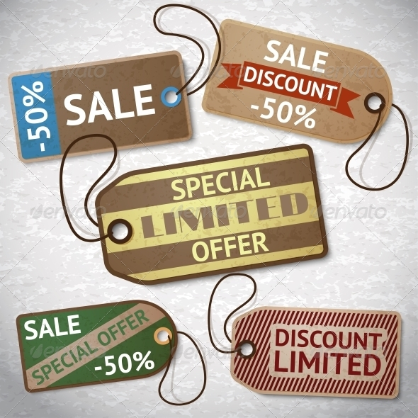 Collection of Discount Cardboard Sale Labels - Retail Commercial / Shopping