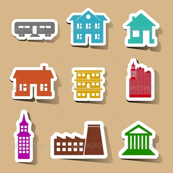 Building Icons Set on Color Stickers - Buildings Objects