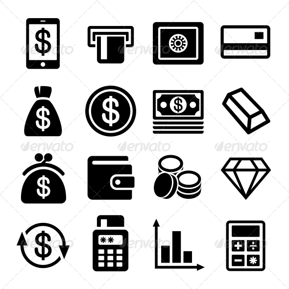 Money and Bank Icon Set - Business Icons