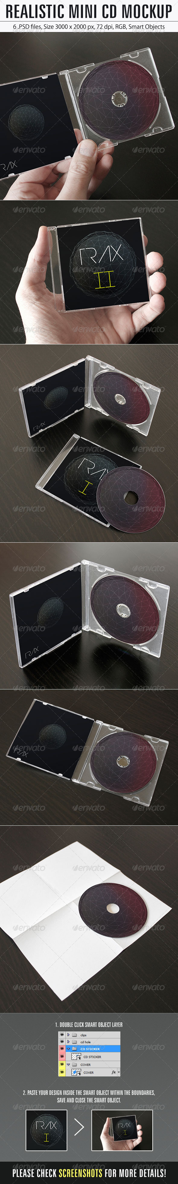 Realistic Mini CD Mockup - Product Mock-Ups Graphics