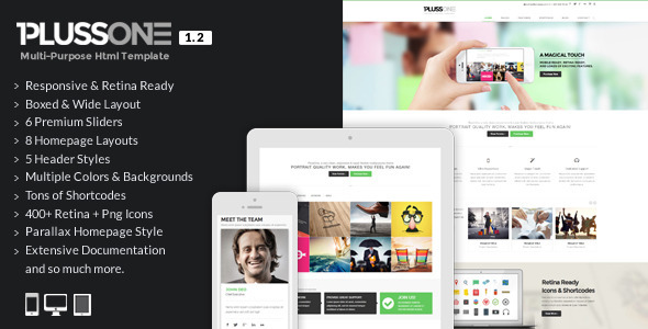 PlussOne – Responsive Multi-Purpose Html5 Template