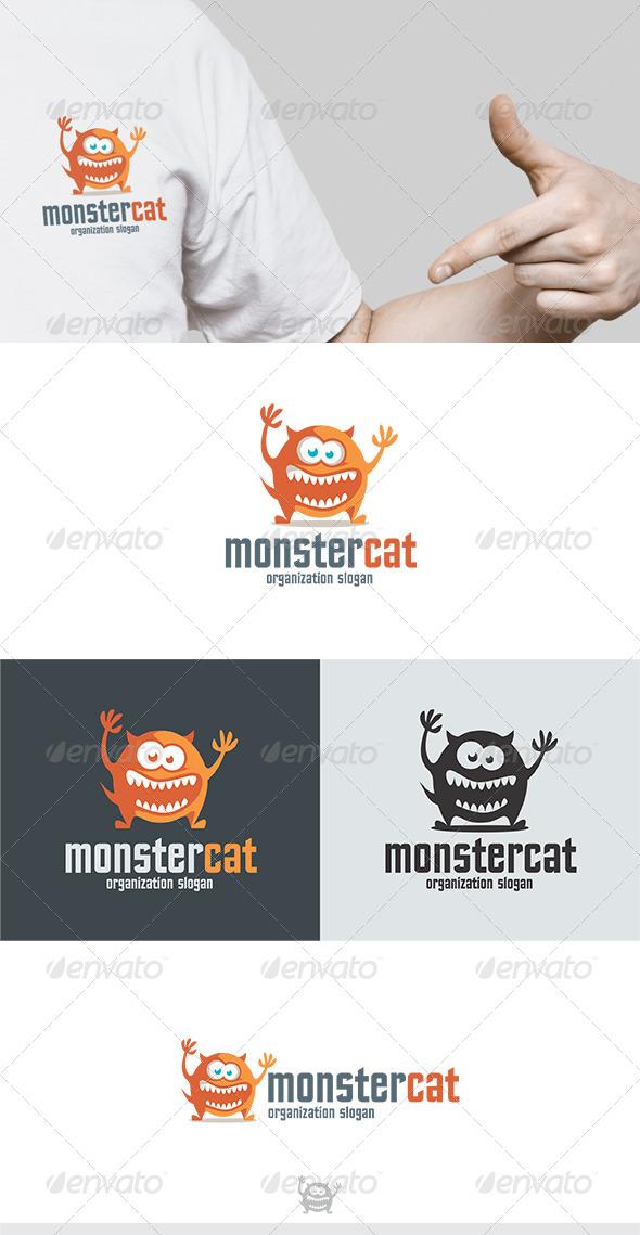 Monster Cat Logo - Animals Logo Templates