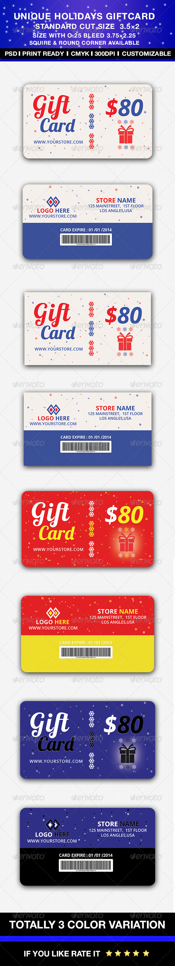 Unique Holidays Gift card - Holiday Greeting Cards