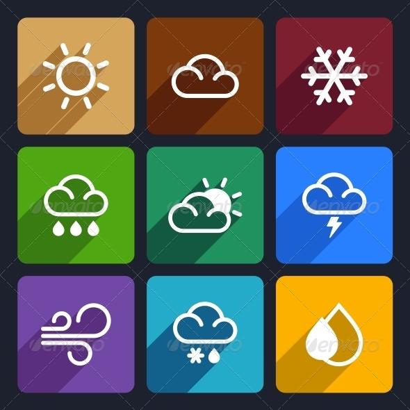Weather Flat Icons Set 27 - Seasonal Icons