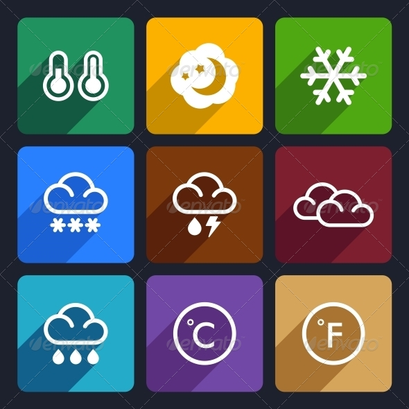 Weather Flat Icons Set 28 - Seasonal Icons