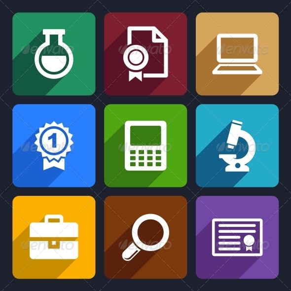 School and Education Flat Icons Set 26 - Miscellaneous Icons