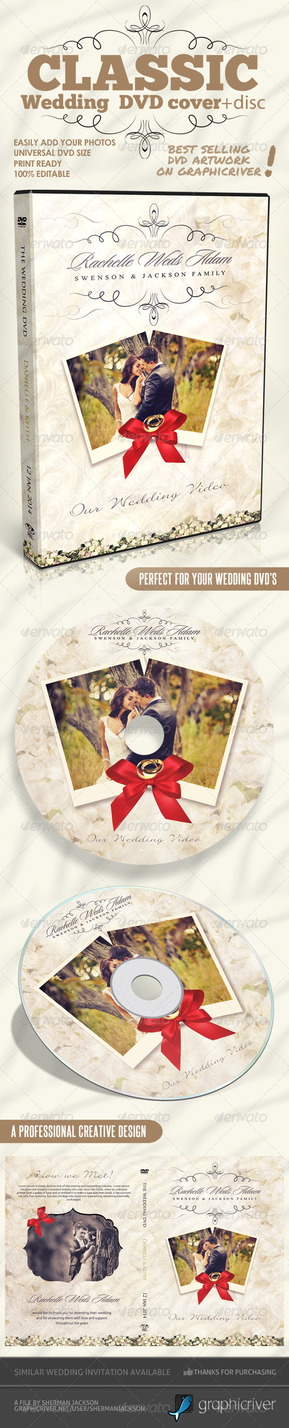 Classique Wedding DVD Covers - CD & DVD Artwork Print Templates