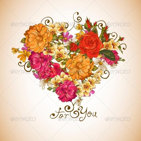 Valentine Floral Heart  - Patterns Decorative