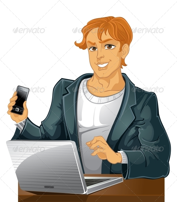 Young Man with Phone and Laptop - People Characters