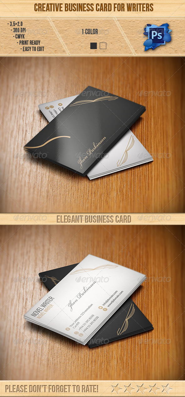 Creative Business Card for Writers - Creative Business Cards