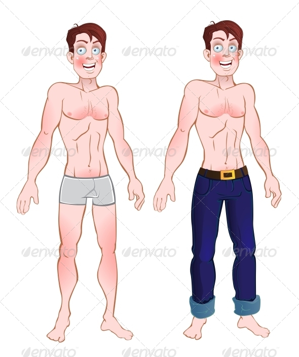 Man in Jeans and Underwear - People Characters
