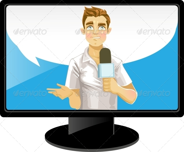 Reporter Boy with Speech Bubble on TV - People Characters
