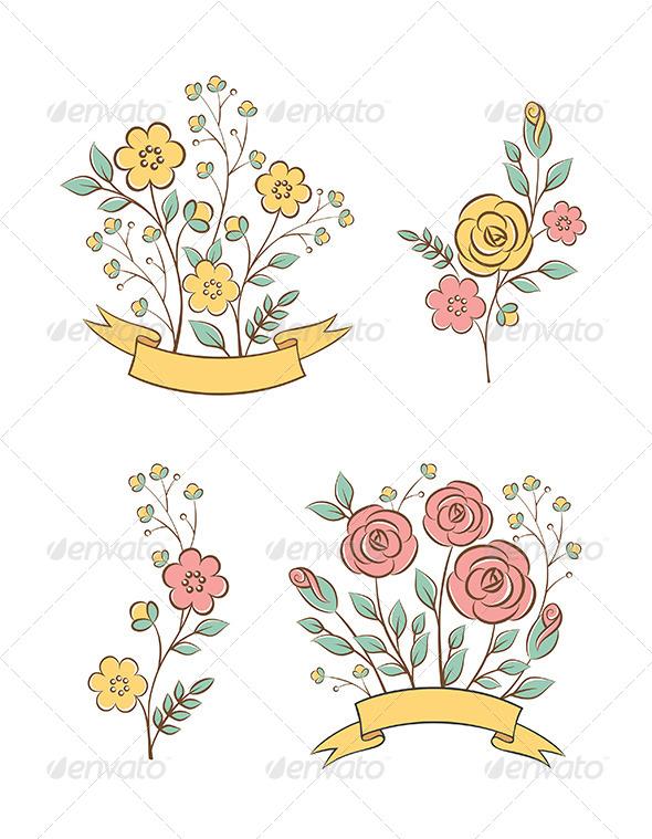 Floral Graphic Elements - Decorative Vectors