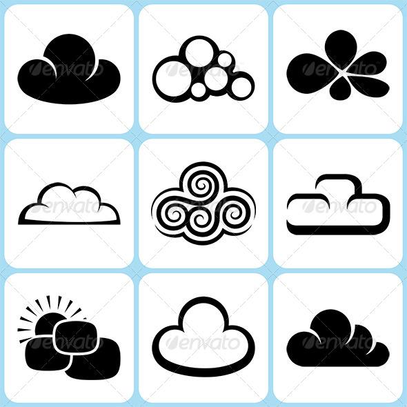 Cloud Icons Set - Nature Conceptual