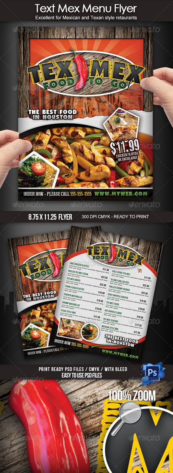 Tex Mex Menu Flyer - Food Menus Print Templates