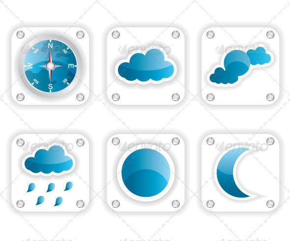 Weather Icons Illustration - Web Elements Vectors