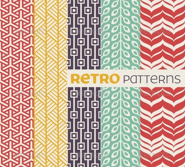 Set of Vector Seamless Patterns in Retro Style - Patterns Decorative