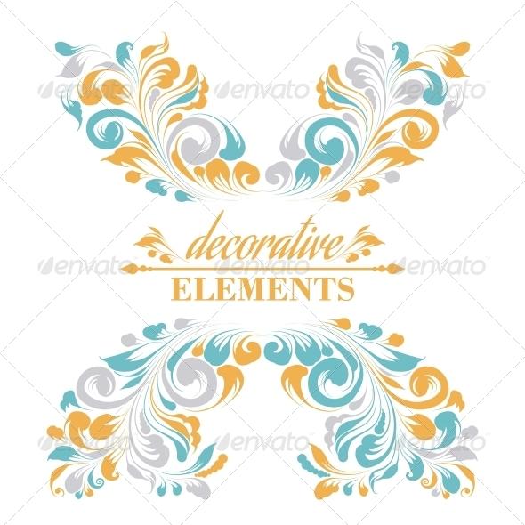 Vintage Floral Elements - Decorative Symbols Decorative
