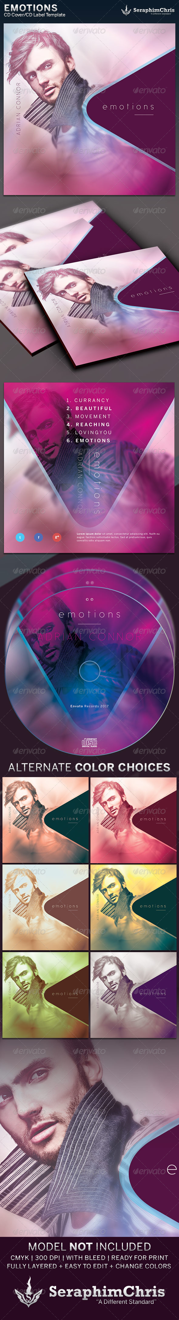 Emotions: CD Cover Artwork Template - CD & DVD Artwork Print Templates