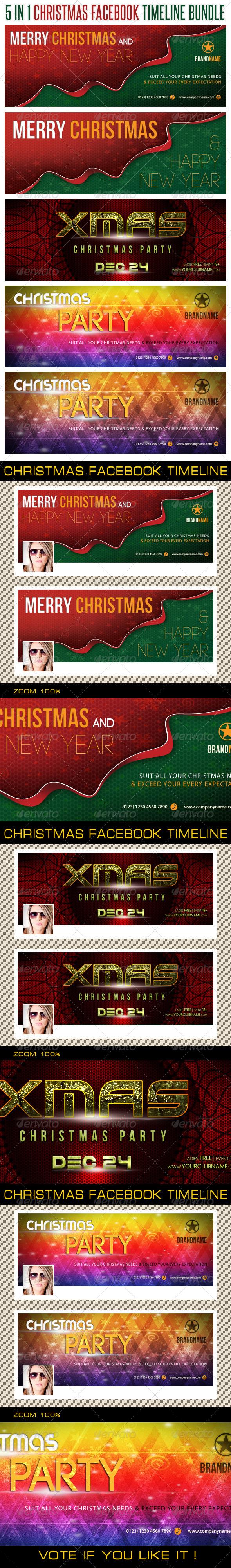 5 in 1 Christmas Holidays Facebook Timeline Bundle - Facebook Timeline Covers Social Media