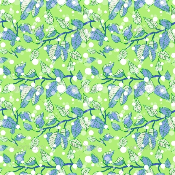 Green Seamless Pattern with Branches  - Patterns Decorative