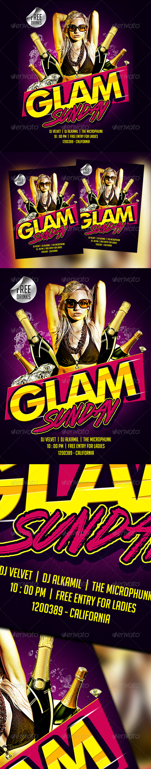 Glam Sunday - Psd Party Flyer - Clubs & Parties Events