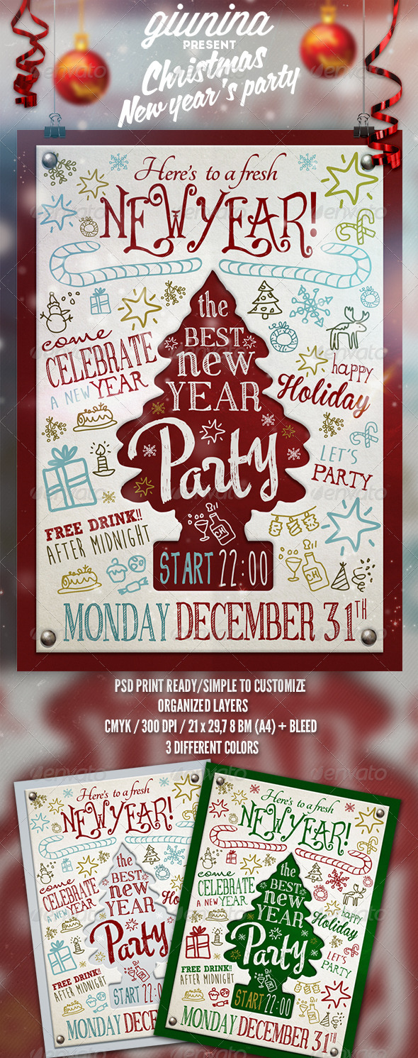 Christmas New Year's Party Flyer/Poster - Events Flyers