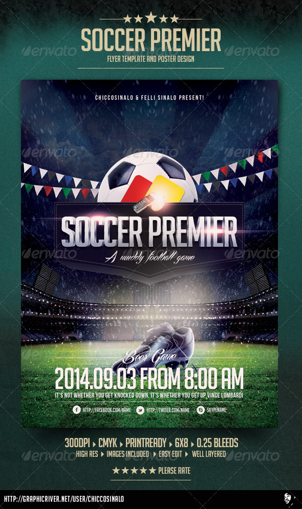 Soccer Premier Flyer Template By Chiccosinalo  Graphicriver