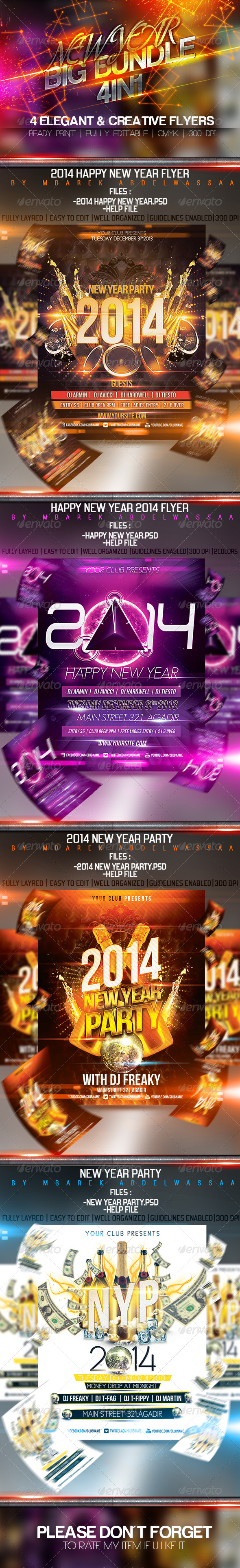 4in1 Elegant & Creative New Year flyers Bundle - Events Flyers