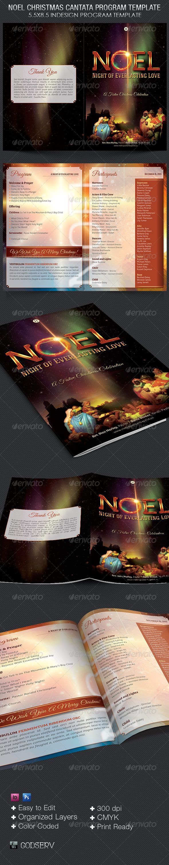 Noel Christmas Cantata Program Template - Brochures Print Templates