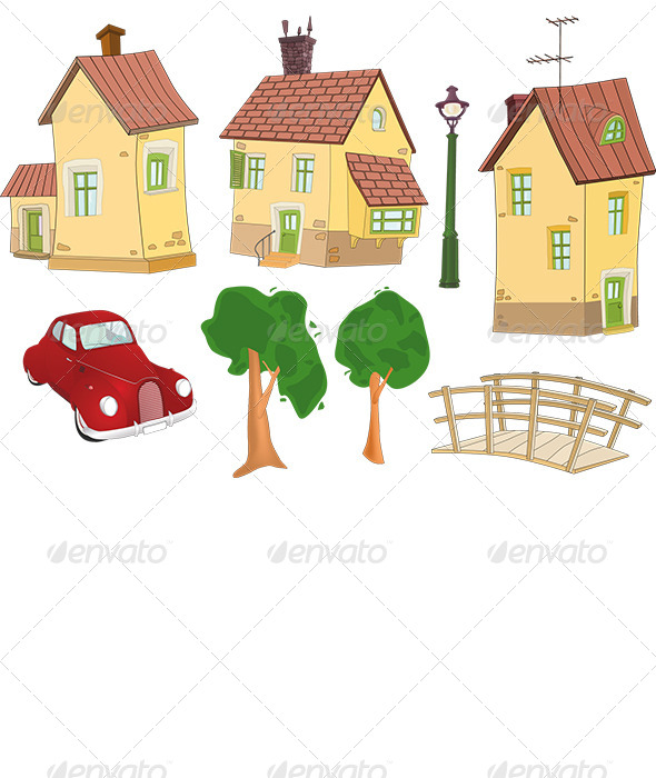 Set of Houses, Trees the Car and the Bridge  - Buildings Objects