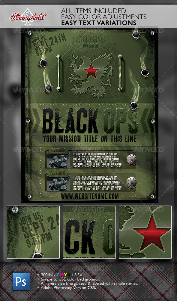 vintage black ops military flyer template by getstronghold