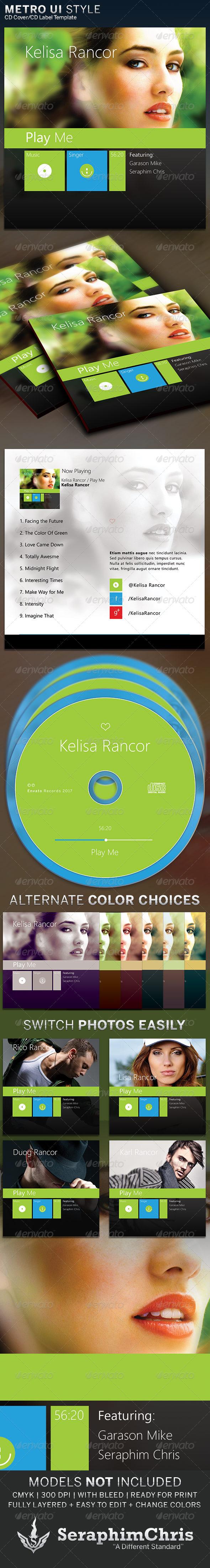 Metro UI Style: CD Cover Artwork Template - CD & DVD Artwork Print Templates