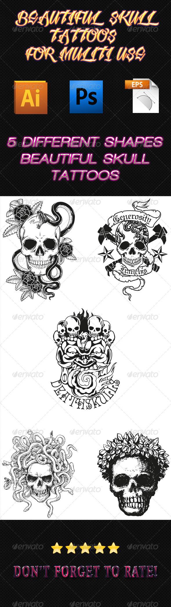 Skull Tattoos 01 - Tattoos Vectors