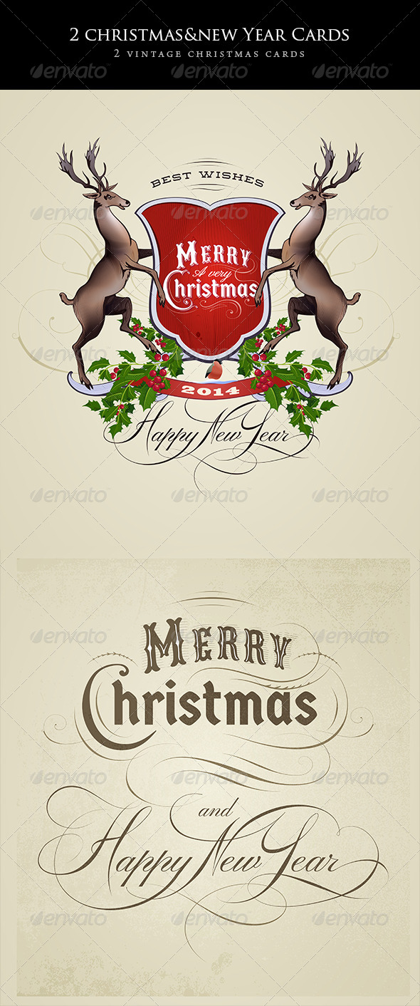 2 Vintage Christmas and New Year Cards - Decorative Vectors