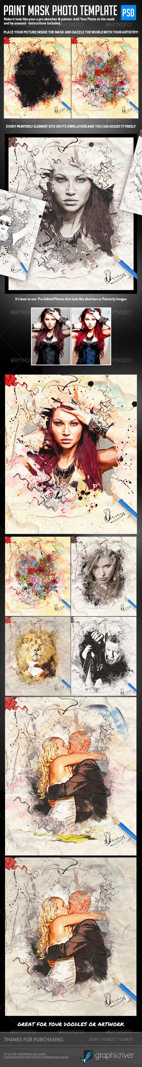 Paint Mask Photo Template v1 - Artistic Photo Templates