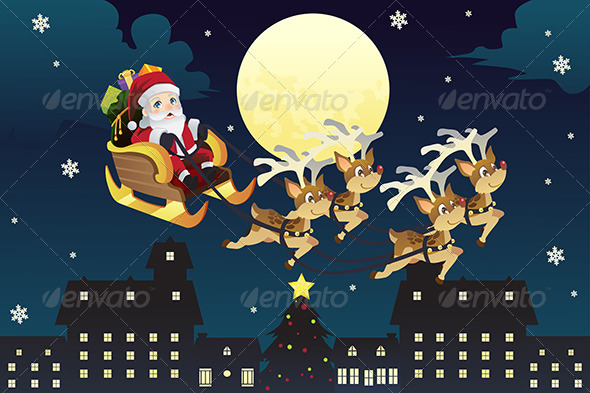 Santa Riding Sleigh with Reindeers - Christmas Seasons/Holidays