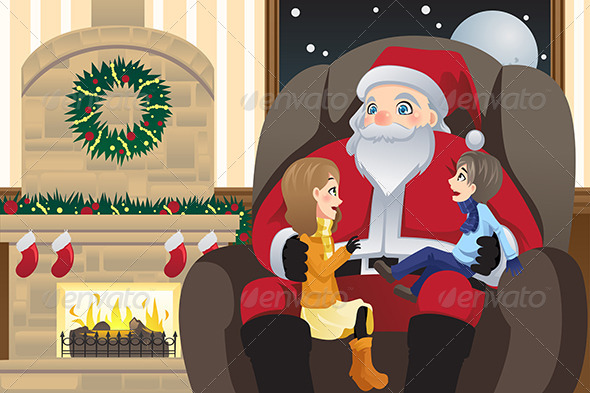 Santa Claus with Two Kids - Christmas Seasons/Holidays
