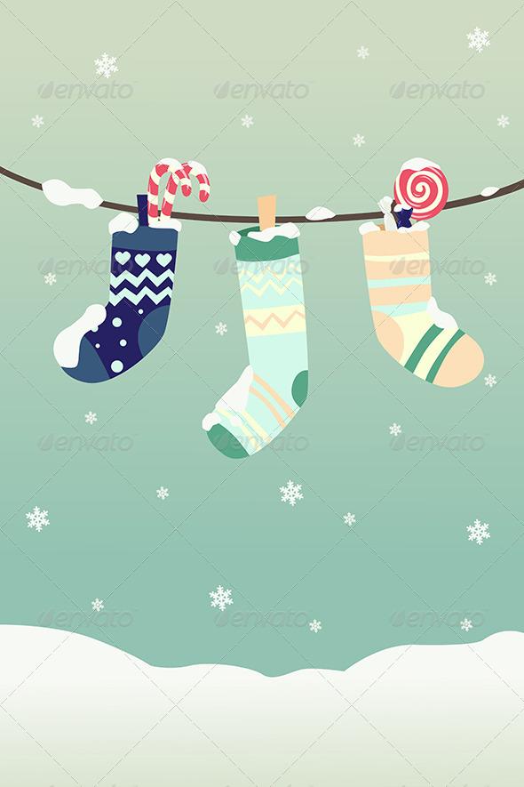 Winter Christmas Stockings - Christmas Seasons/Holidays