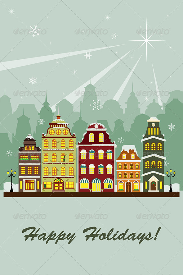 Winter Village Greeting Card - Seasons/Holidays Conceptual